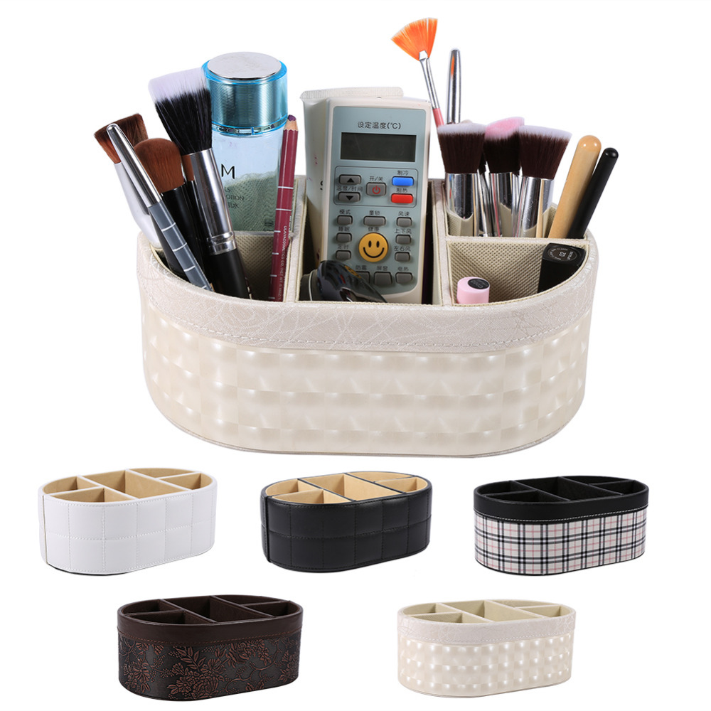 PU Leather Desktop Storage Basket Sundries Storage Box Desktop Makeup Organizer Cosmetic Home Office Storage Box