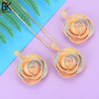 GODKI Luxury Cannibal flower Necklace Earring Sets Cubic Zircon Crystal jewelry Sets for women Wedding India Bridal Jewelry Set