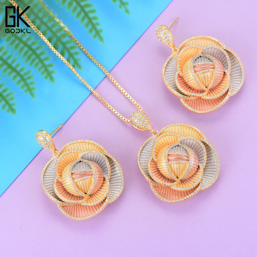 GODKI Luxury Cannibal flower Necklace Earring Sets Cubic Zircon Crystal jewelry Sets for women Wedding India Bridal Jewelry Set все цены