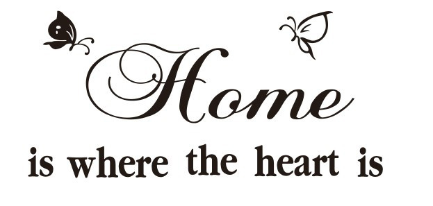 dctop free shipping wall sticker butterfly home is where the heart is vinyl letters decals