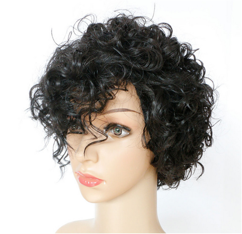 Short Curly Afro Wig black Brown wig Synthetic Wigs Black Women African American - DIY Foreign trade shop store
