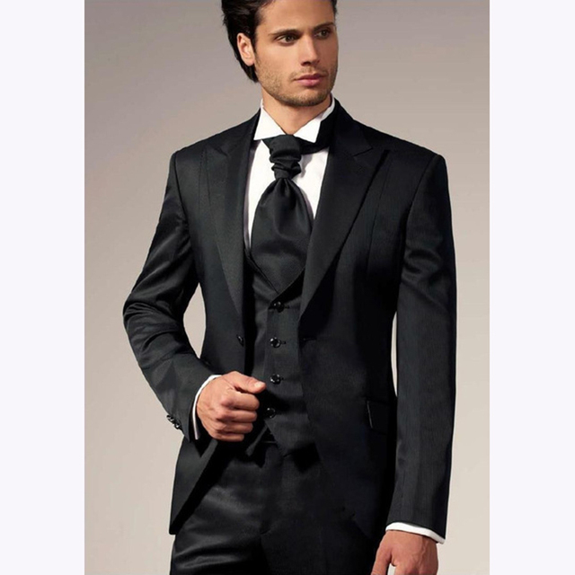 Modest Black One Button Slim Fit Mens Suit Groom Tuxedos Wedding