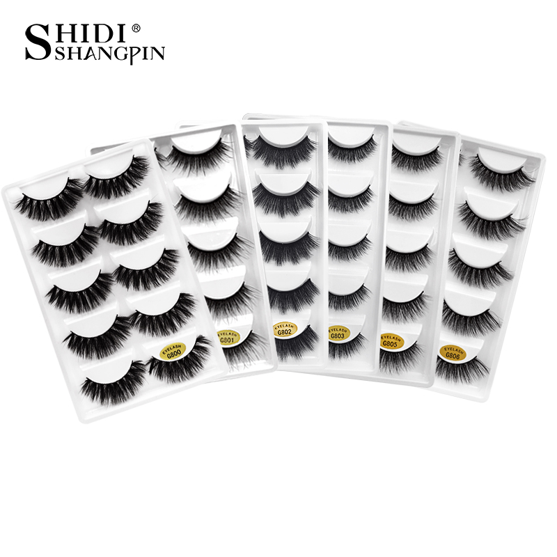 LANJINGLIN 50 boxes / lot mink eyelashes natural long false eyelashes 100% handmade soft 3d mink lashes makeup faux cils G800-in False Eyelashes from Beauty & Health    1