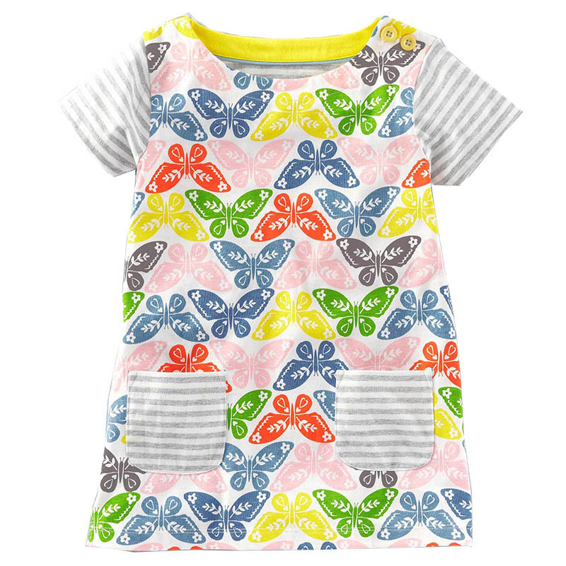 Girls Dress 2017 Summer New Short-sleeve Lovely Cat Pattern Kids Clothes Baby Girl Dress European and American Style 100% real photo brand kids red heart sleeve dress american and european style hollow girls clothes baby girl clothes