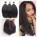 3 paquetes Brasileño Recto Rizado Pelo A Granel del Trenzado Del Pelo Humano A Granel Sin Trama Afro Rizado Recto Micro Hair Braiding
