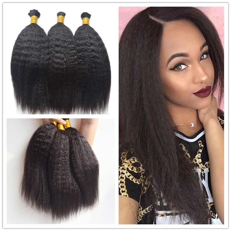 3bundles Brazilian Kinky Straight Bulk Hair Human Braiding ...