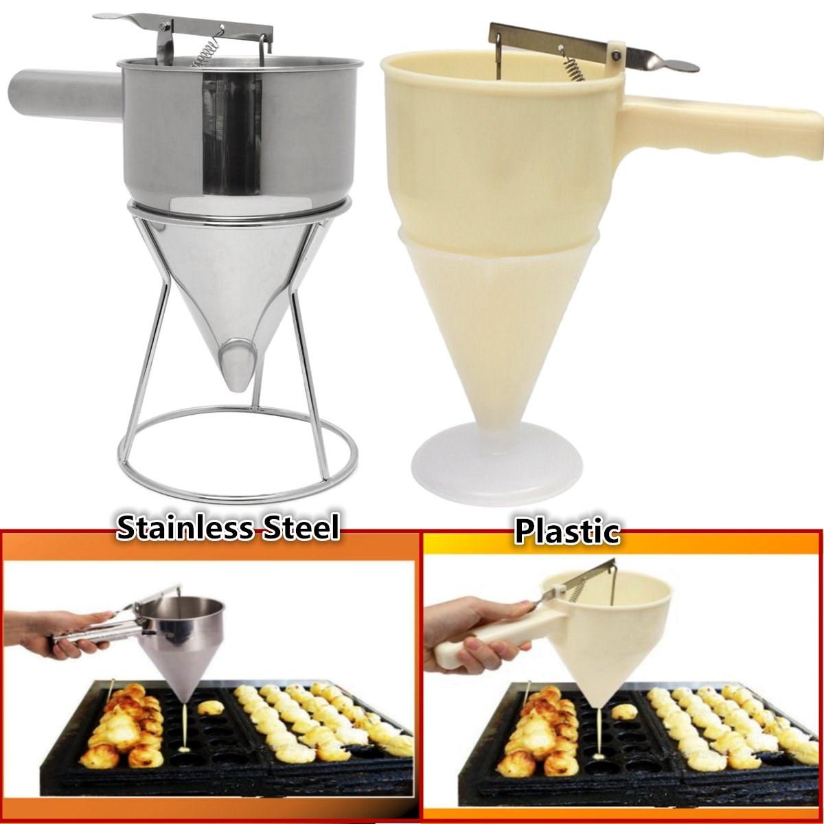 takoyaki batter dispenser conical funnel with shelf octopus fish balls eggs tart baking tools helper steel - Batter Dispenser