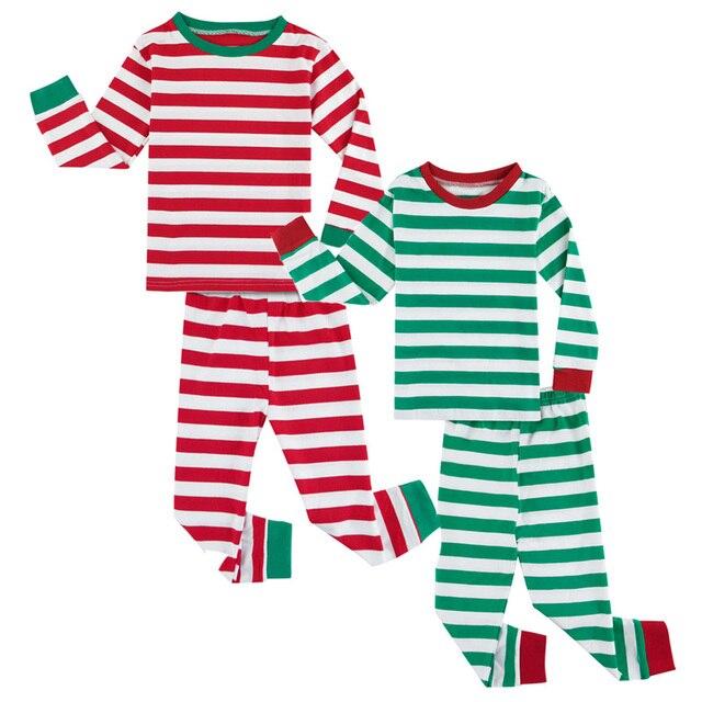 8716308933 Boys Girls Striped Pajamas Cotton Children Pyjamas Sets Christmas Baby  Pijamas Long Sleeve Sleepwear 2 PCS