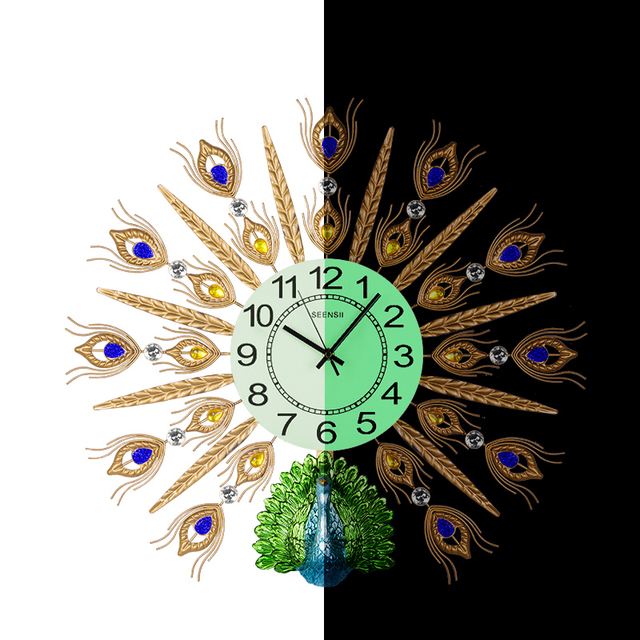 Modern Exquisite Luminous Peacock Needle Clock Household Decoration Crafts Handmade Metal Digital Electronic Wall Watch Clocks