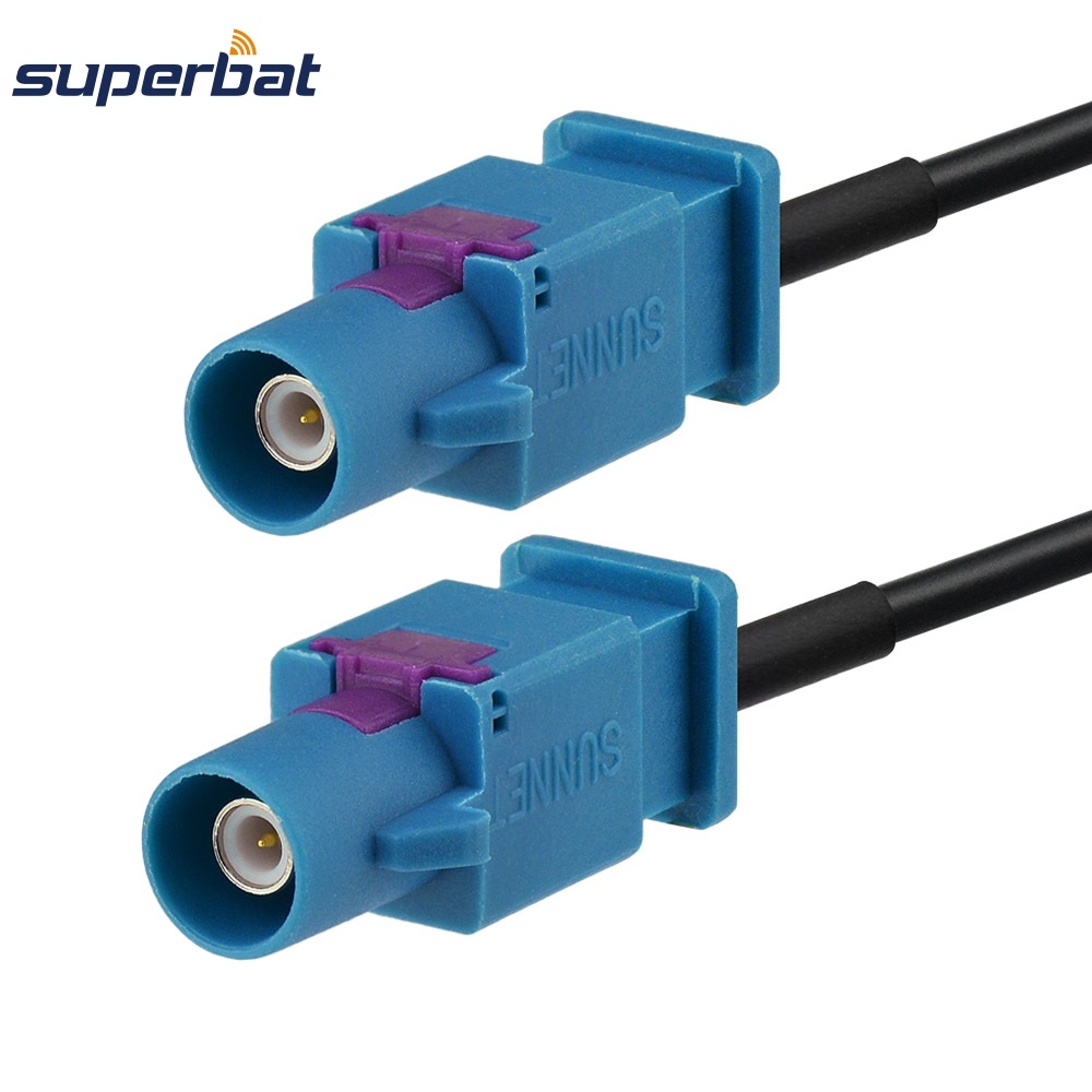 Superbat Double Fakra Z Connector Plug Male Straight Pigtail Jumper Assembly RF Cable RG174 5cm For GPS Antenna Car Audio