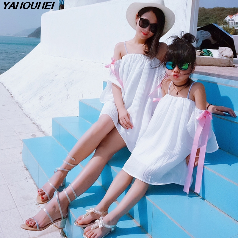 New Mother Daughter Dress Off Shoulder Sexy White Dress Family Matching Dresses Kid Girl Mother Dress Family Clothing Outfits