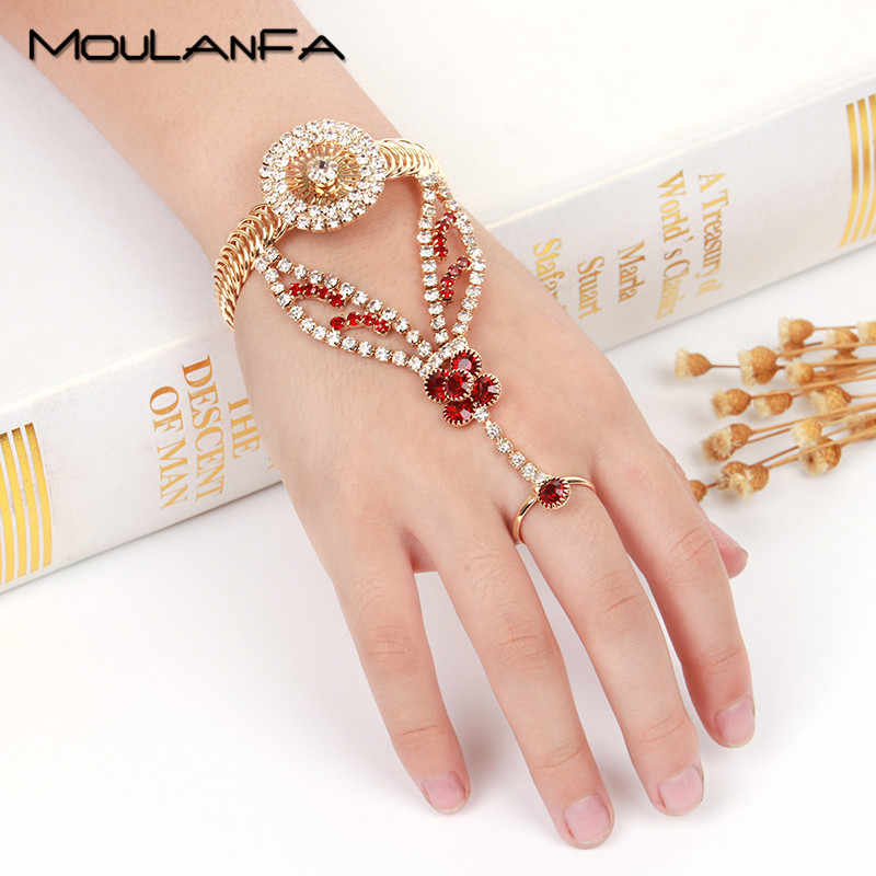 MOULANFA kid's high quality bracelet with finger ring Round shape flower style for children gift Bohemia bangle jewelry set