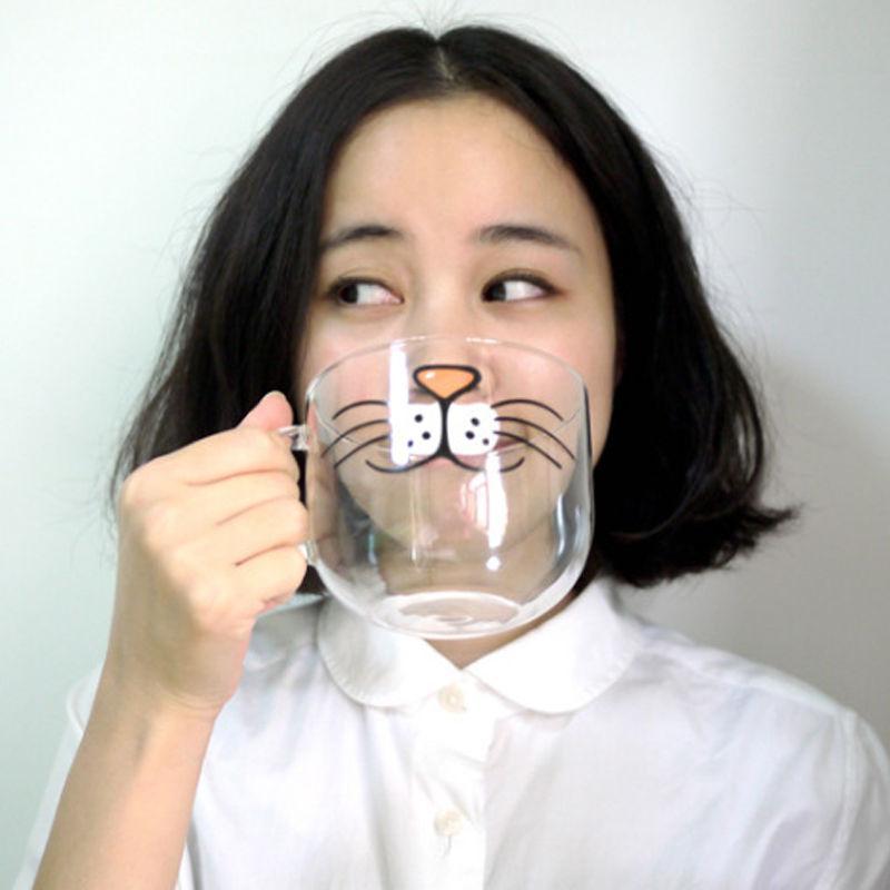 Cute CAT Kitty vidrio borosilicato café transparente taza de agua 550 ml