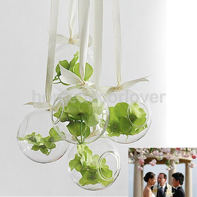 Hanging Glass Flowers Planter Vase Bottle Container Home Garden Ball