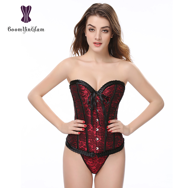 Wholesale High quality lavender/red ruffled top body shaper victorican pleated women   bustier   shapewear   corset   with g string 898#