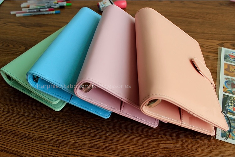 Harphia PU Leather Spiral Loose Leaf Refillable Travel Journal Macaron Notebook For Filofax Planner Agenda Notepad Binder A5 A6 harphia 3 colors divider craft separate page white simple but good match for 6 holes loose leaf notebook agenda planner filofax