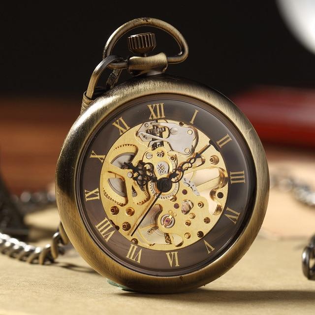 Retro Bronze Skeleton Mechacnical Hand-winding Mens Pocket Watch FOB Chain Roman