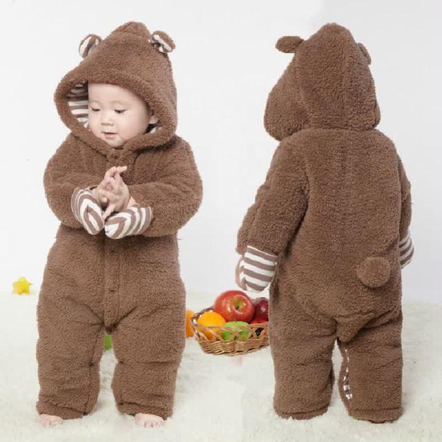 9dcfda9e7 Recién Nacido 100% algodón peludo Mamelucos invierno cálido abrigo bebe  Niños Bebé Ropa caliente gruesa