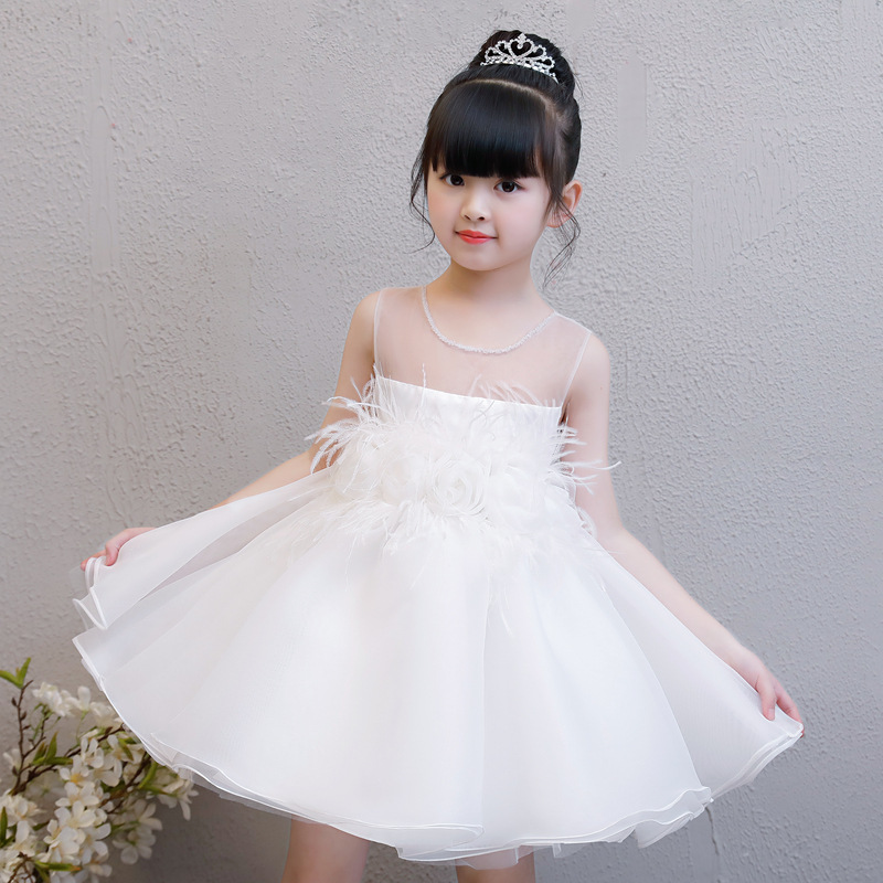 White Princess Dresses New Flower Girl Dresses Ball Gown Kids Pageant Gowns Wedding Girls Party Dress Summer Girl's Dress AA298 new dubai girl s pageant dresses crystals blue lace ball gown glamorous kids pageant dress flower girls gowns for wedding