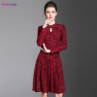 HANZANGL High Quality 2018 Autumn Winter Women Dress Elegant Vintage Long Sleeve Party Special Occasion A