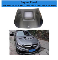 Carbon Fiber Front Bonnet Hood Cover Bodykit Fit for Benz C Class W205 C180 C200 C250 C300 C350 C43 AMG C63 AMG 2015 2019