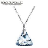 Neoglory S925 Blue Crystal Necklace Cho Người Phụ Nữ Geometric Pha Lê Chain Dây Chuyền & Mặt Dây Trang Sức 2017 New Quà Tặng Sinh Nhật MC