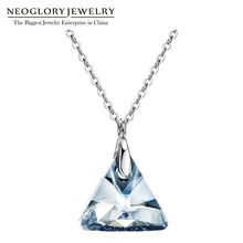 Neoglory S925 Blue Crystal Necklace For Woman Geometric Crystal Chain Necklaces&Pendants Jewelry 2017 New Birthday Gifts MC