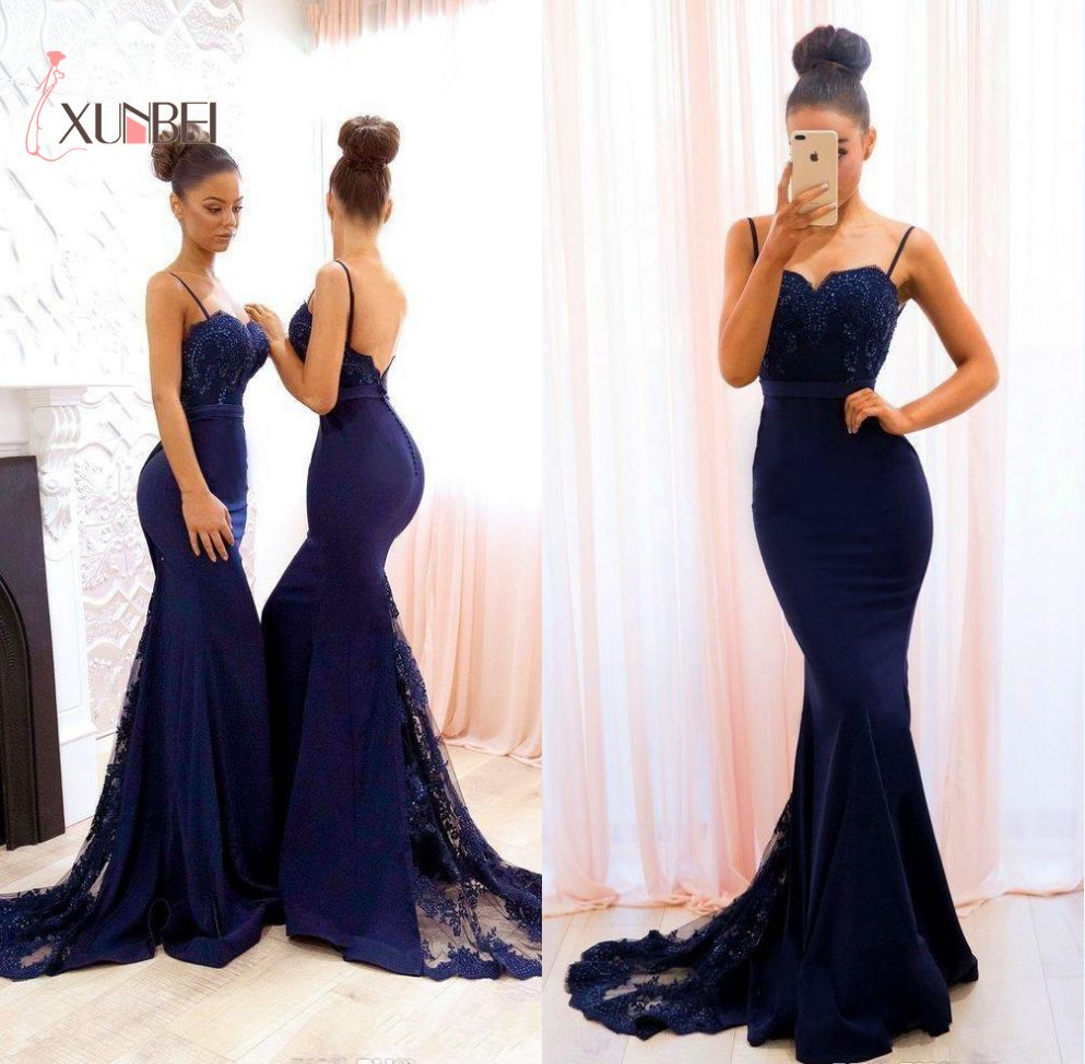 Vestido madrinha Mermaid Navy Blue Lace Bridesmaid Dresses 2019 Spaghetti Straps Beaded Appliques Satin Prom Wedding Guest Dress(China)