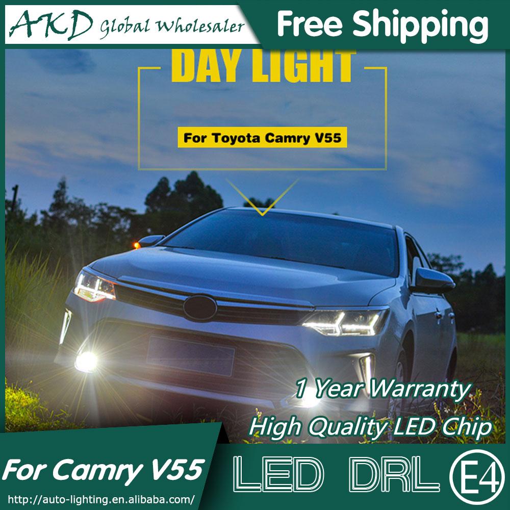 AKD Car Styling LED Fog Lamp for Toyota Camry DRL 2015 Camry V55 LED Daytime Running Light Fog Light Parking Accessories