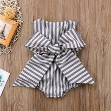 Clothes For Female Newborns Hot Summer 2018 Girl Butterfly Bowknot Backless Strip Tiny Cottons Bodysuit Baby