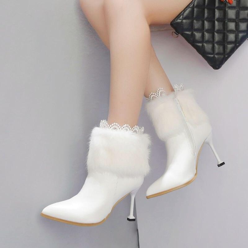 Conejo Botines Invierno Dedo Pie Felpa Mujer Señoras De Encaje blanco Altos  Negro Punta Del Sexy Cremallera Piel Las Botas Mujeres Tacones Zapatos ... aeaa6fe9ce9c