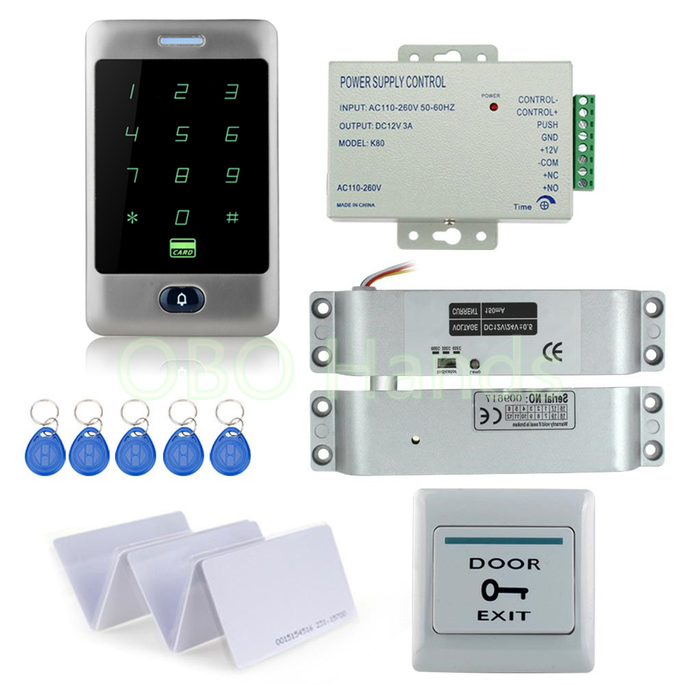 Fast delivery RFID metal touch access control keypad+Electronic door bolt lock+12V power supply+door exit button+rfid key cards full kit access control biometric fingerprint x6 electric strik lock power supply exit button door bell remote control key cards