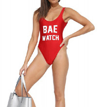 Для женщин Сексуальная Холтер bae часы буквы один штук нижней части спины  боди Летний стиль красный Купальники для малышек ванны. b700744a63204