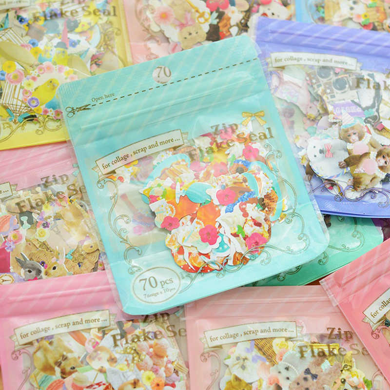 70pcs/Pack Korean Version Meng Things Shape Collage Decorative,Girls and Cartoon Animals The Wind Sealed Bag Stickers Affixed