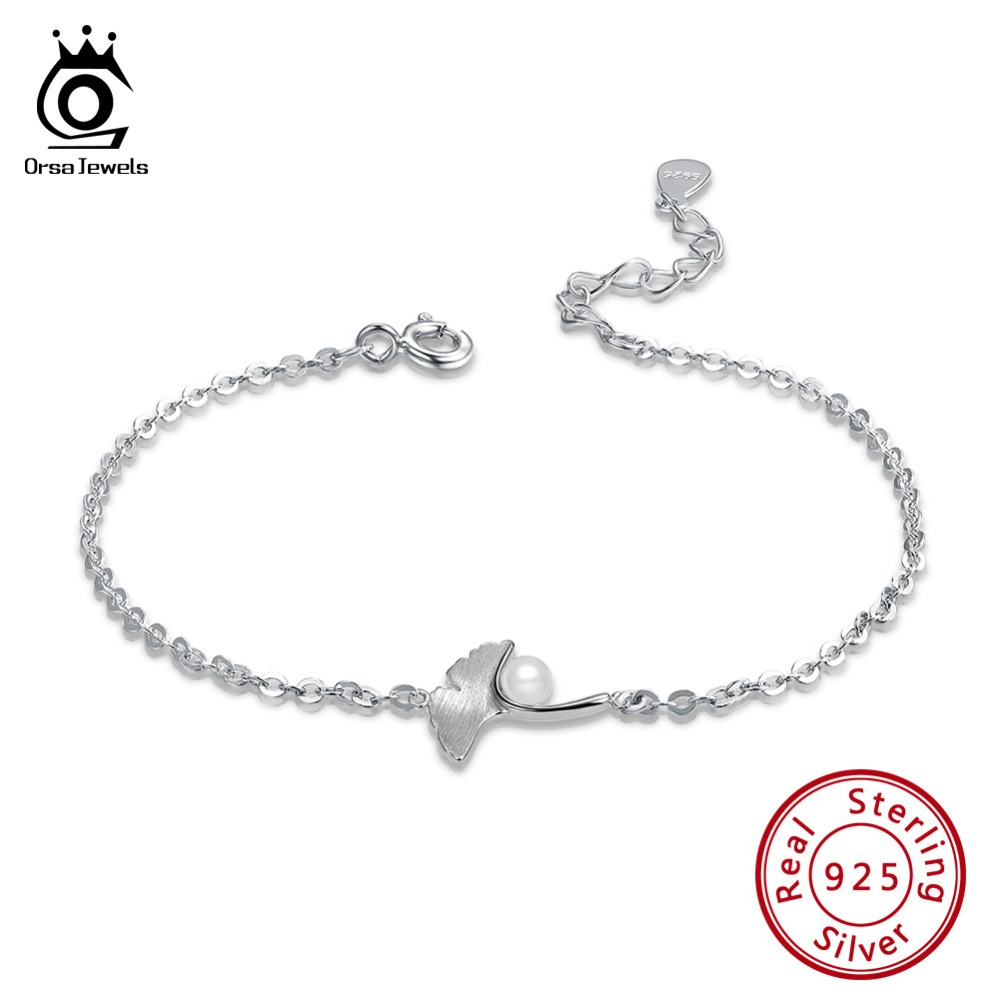 ORSA JEWELS Authentic 100% 925 Silver Bracelets For Women Ginkgo Biloba And Pearl Pattern Silver Color Female Party Jewelry SB39