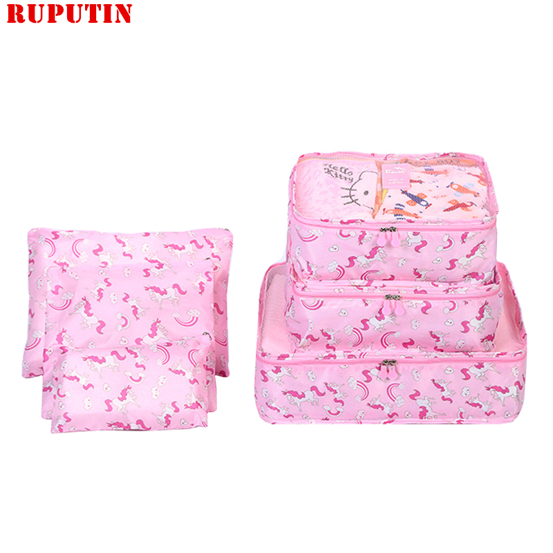 RUPUTIN New 6PCS/Set Travel Mesh Bag In Bag Luggage Organizer Packing Cube Set For Clothing Suitcase Storage Cosmetic Tidy Pouch