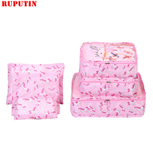 RUPUTIN New 6PCS/Set Travel Mesh Bag In Luggage Organizer Packing Cube Set For Clothing Suitcase Storage Cosmetic Tidy Pouch