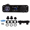 Waterproof Car Boat 3 Hole Panel Dual USB Charger Blue LED Voltmeter 12V Socket Dual USB Charger Socket Dual USB Charger