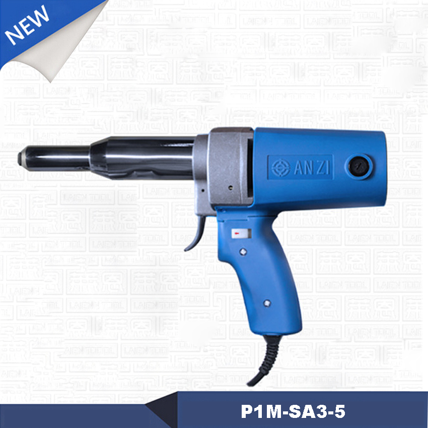 цена на NEW Arrival P1M-SA3-5 Electric Rivet Gun Electric Riveter Gun Riveting Tool Pull Nail Gun 7000N 23MM Work Trip 220v / 50HZ 400W