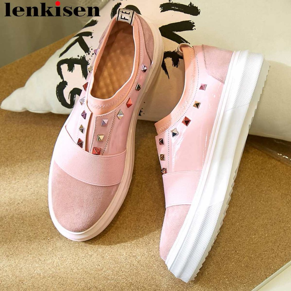Lenkisen new kid suede round toe thick bottom platform colorful rivets decoration slip on loafers leisure
