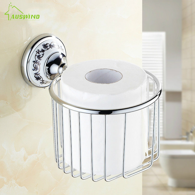 Polished Chrome Ceramic Base Toilet Paper Holder Tisssue Basket Silver Toilet Paper Box Bathroom Accessories Sets