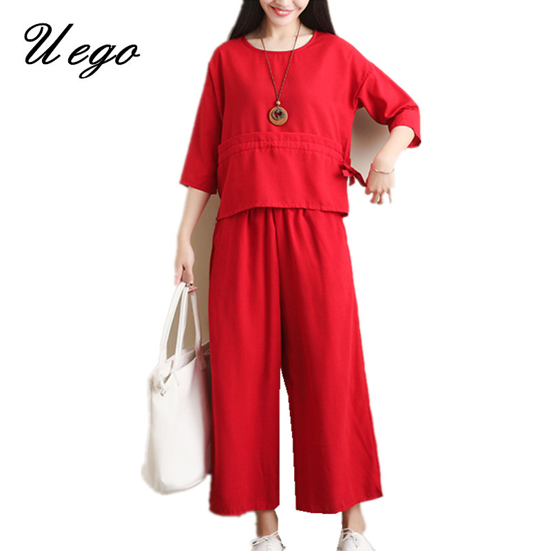 Uego 2019 New Arrival Spring Summer Two Piece Women's Set Loose Tops+Wide Leg Pants Women Casual Set Fashion Women Clothes Suits