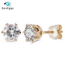 DovEggs 14K Yellow Gold 1.0CTW 5mm F Colorless Moissanite Diamond Stud Earrings For Women Wedding Classic Earrings Screw Back недорого