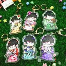 6pcs/set Anime Keychain Harajuku Matsuno Ichimatsu Osomatsu-san Daily Life Cute Portachiavi Keychian Keyrings Pendant llavero