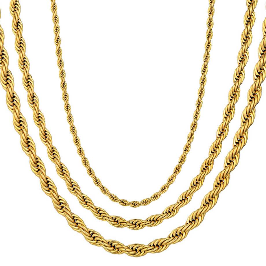 Твист хип хоп нержавеющая сталь длинная цепочка ожерелье мужские ювелирные изделия оптом, бренд Хиппи золотого цвета мужское ожерелье цепочка ювелирные изделия подарок