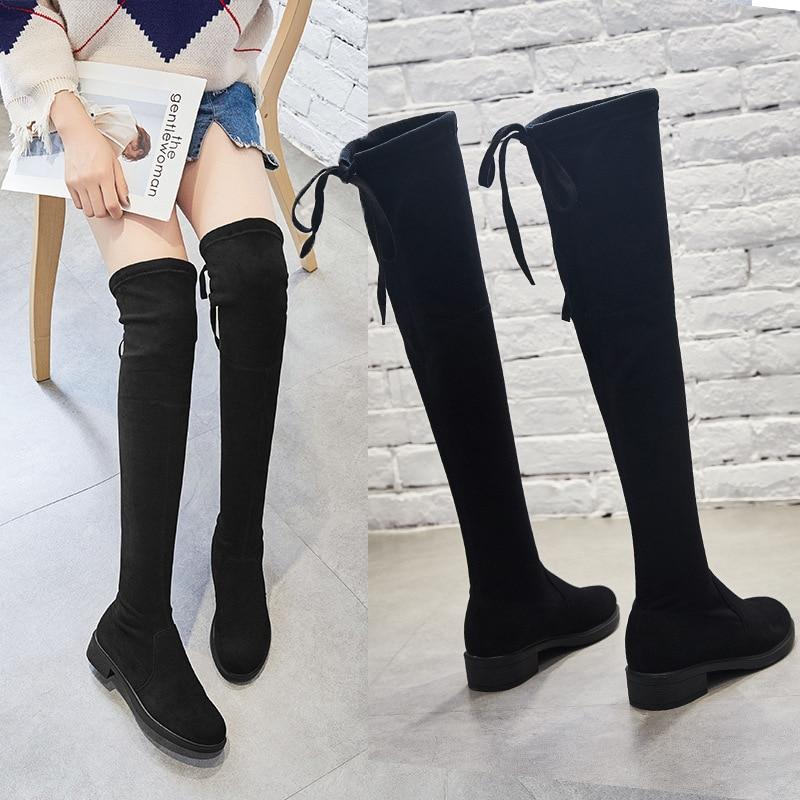 E Nuevas Diseñadores De Hombres Otoño Los Terciopelo Lujo Nieve Invierno Ovejas Elástico Las Alta Rodilla La Mujeres Zapatos Botas Hqx0Sw