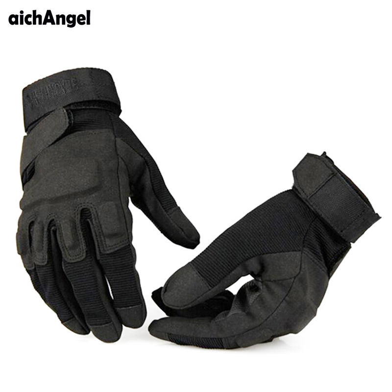 AichAngeI Men's Army Gloves Man Full Finger Gloves Military Police Safety Gloves Speed Dry Anti-Slippery Leather Tactical Gloves