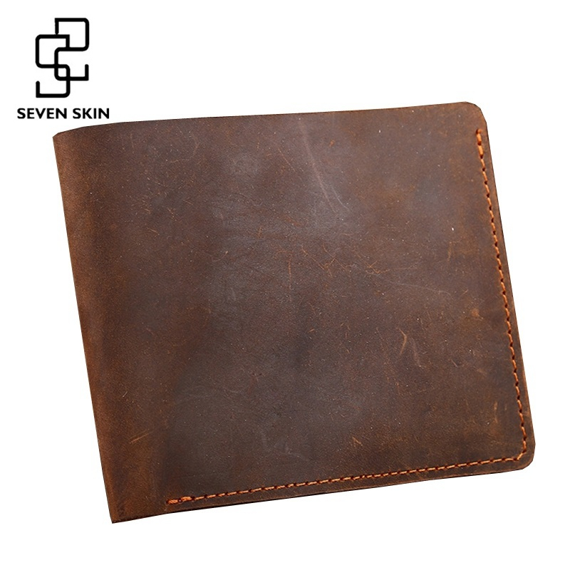 100% Genuine Leather Wallet Men Purses Crazy Horse Wallets Vintage Design Leather Wallet Carteira Masculina Money Card Holders sale carteira feminina genuine leather bag brand wallet men kangaroo design genuine leather wallets mens carteira masculina
