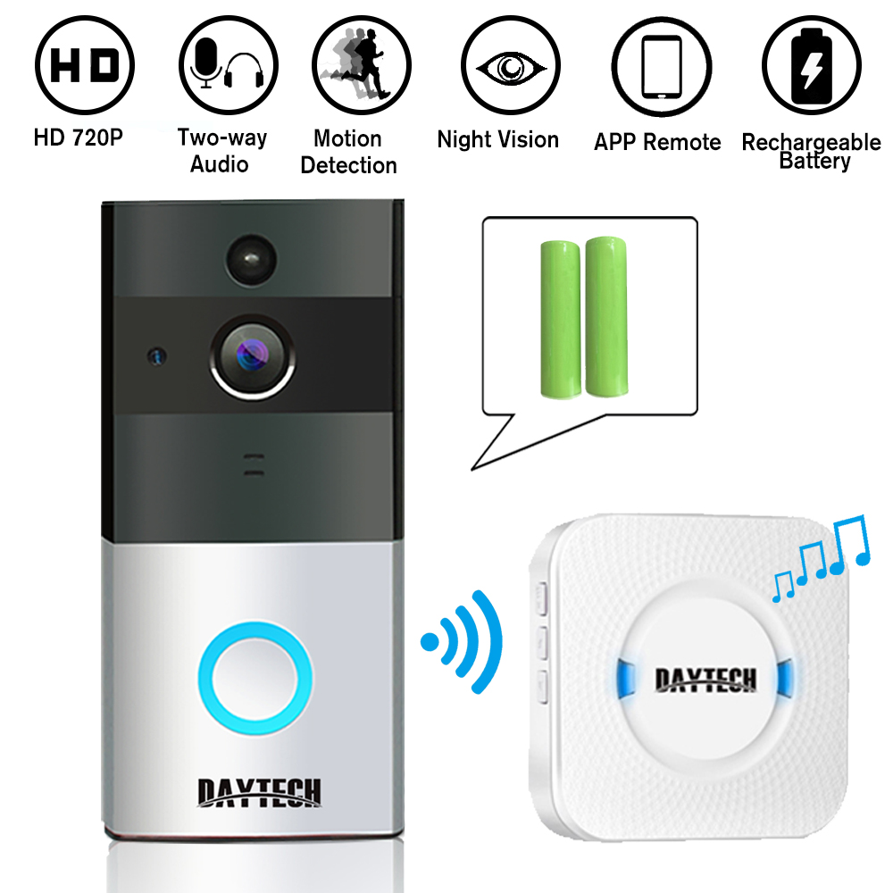 DAYTECH Wireless WiFi Video Doorbell 1.0MP Doorbell Camera Night Vision Two-way Audio Battery Operation With Indoor Chime