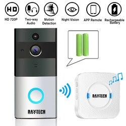 Daytech sem fio wifi campainha de vídeo 1.0mp campainha câmera de visão noturna operação de bateria de áudio bidirecional com carrilhão interno